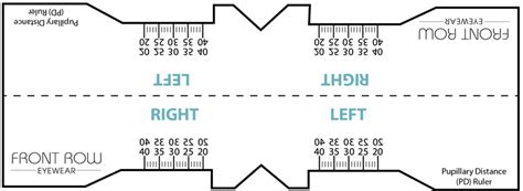 Printable Pupillary Distance Ruler | pupillary distance guide and a pd ruler front row eyewear