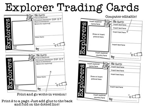 history trading cards template snaps explorers trading cards for any explorer
