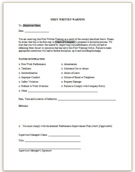 employee disciplinary notice template