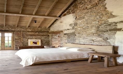 Brick wall inside house, rustic bedroom designs with stone