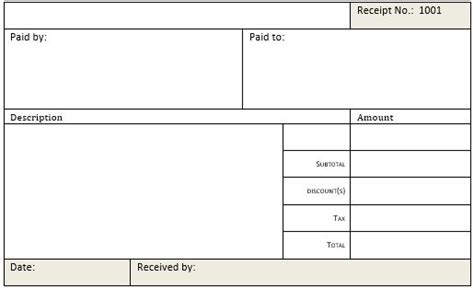 Cash Receipt Templates For Ms Word Excel Receipt Templates Microsoft Excel Receipt Template