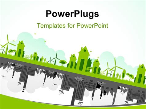 Powerpoint Template Green Cityscape With Wind Turbines Green Building Ppt Templates Free