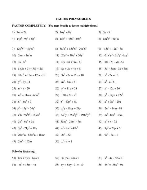Factoring Polynomials Worksheet With Answers by 10 Best Images Of Factoring Polynomials Practice Worksheet