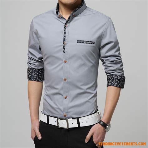 Kemeja Cowok New M City Black Grey chemises homme gris blanc jaune fashion chic pas cher
