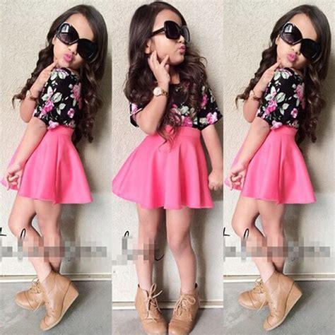 Miss Free 2pcs Kiddie Set 2pcs cotton t shirt skirt baby clothes