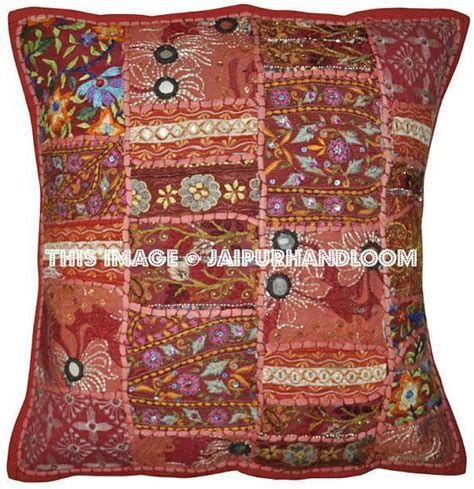 Red vintage patchwork sofa throw pillows embroidered bedroom pillows