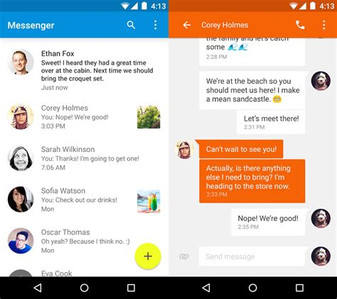 releases material design messenger app for android