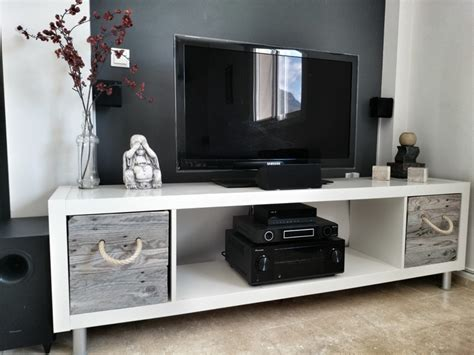 ikea tv cabinet hack ikea expedit tv stand with pallet boxes ikea hackers
