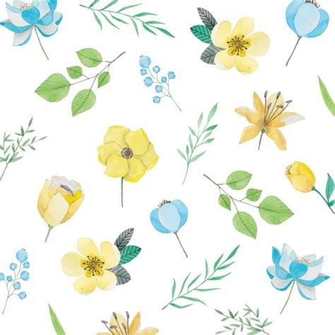 watercolor flowers pattern vector free download watercolor pattern with yellow and blue flowers vector