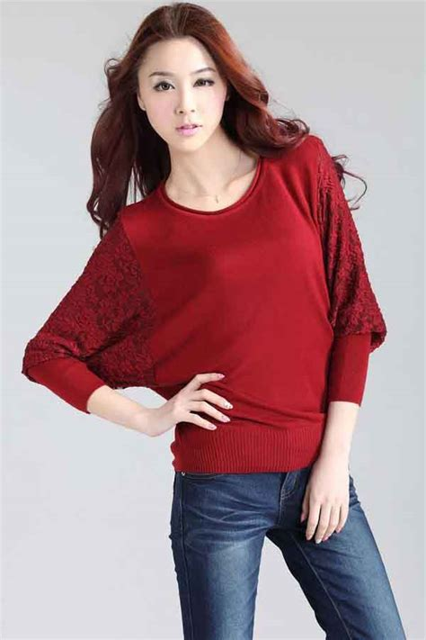 red lace crochet bat sleeve pullover sweater  sweaters