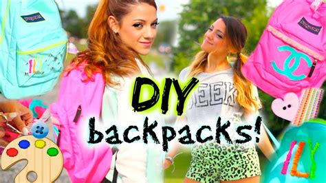 diy hairstyles niki and gabi back to school diy personalized backpacks youtube