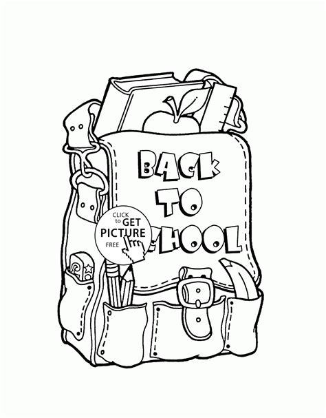 back to school backpack coloring page for kids school