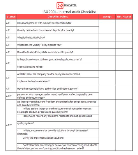 15 Internal Audit Checklist Templates Sles Exles Formats Form Iso 9001 Templates Free