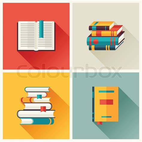 design icon book set of book icons in flat design style stock vector