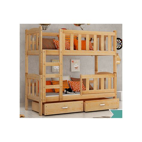 Wooden Bunk Beds With Drawers by Solid Pine Wood Bunk Bed With Mattresses And Drawers 160x70 Cm