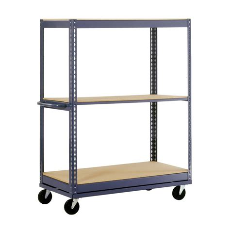edsal 54 in h x 36 in w x 24 in d 3 shelf mobile steel