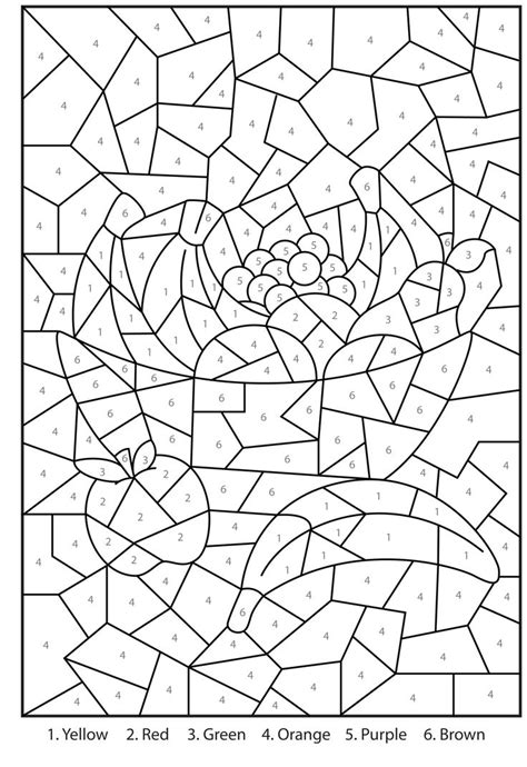free mosaic color by number coloring pages