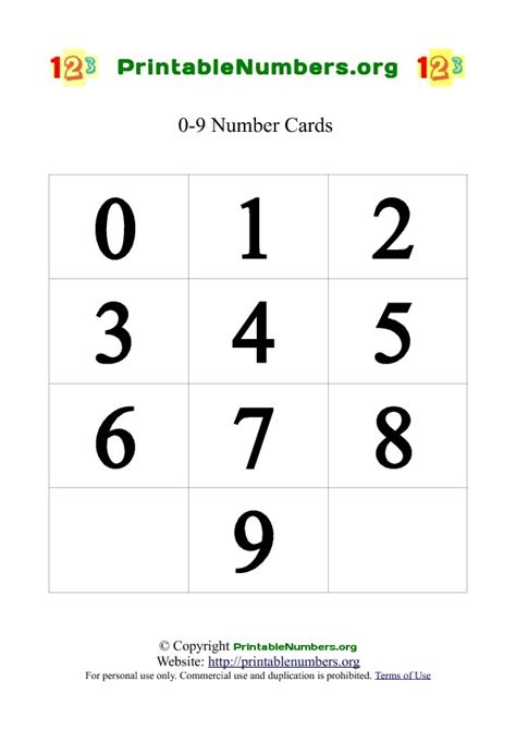 printable numbers pdf printable number cards 0 9 printable numbers org