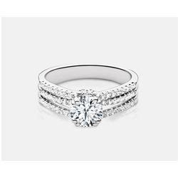 cubic zirconia and ring 14kt white gold