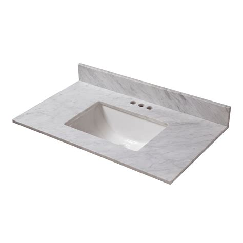 19 X 31 Vanity Top by Glacier Bay 31 Inch W X 19 Inch D Carrara Marble Vanity Top With Trough Bowl The Home Depot Canada