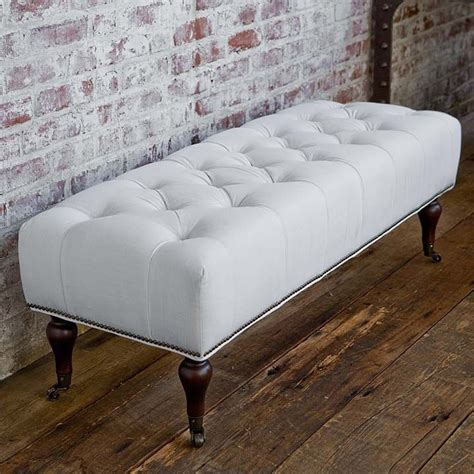 bench schlafzimmer andrew furniture white linen tufted laylagrayce