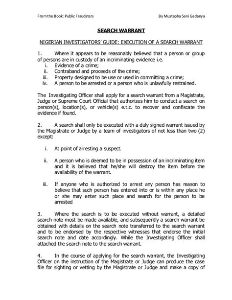 Requirements For Search Warrant Investigators Guide Execution Of Search Warrant