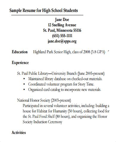 resume template teenager 10 high school resume templates free within