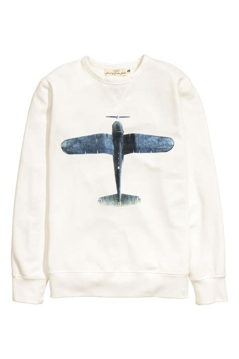 Hnm Sweatshirt With Printed Design White sweatshirt with printed design white sale h m us