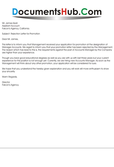 Promotion Letter Subject Rejection Letter For Promotion Documentshub