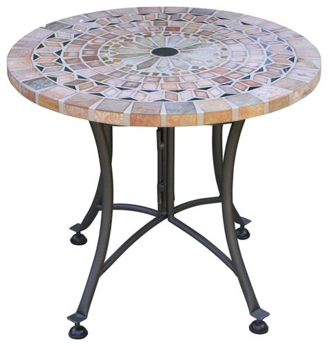 Outdoor Accent Table Sanstone Mosaic Accent Table With Metal Base Southwestern Outdoor Side Tables By Outdoor