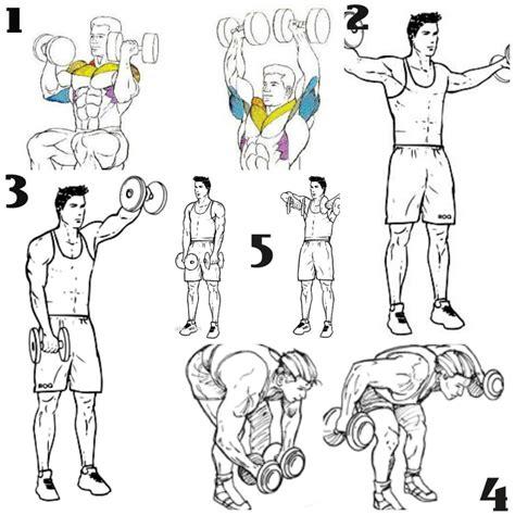 tabla de ejercicios con mancuernas para hacer en casa circuito de 15 minutos para hombros solo con mancuernas