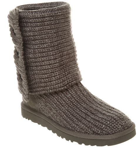 knit boots womens ugg uggs cardy knitted boot grey marl boots ebay