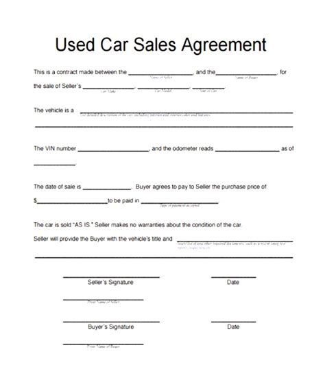motor vehicle sales agreement template motor vehicle sale agreement template awesome car sales