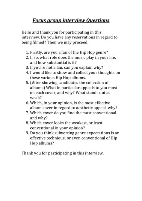 focus group interview questions