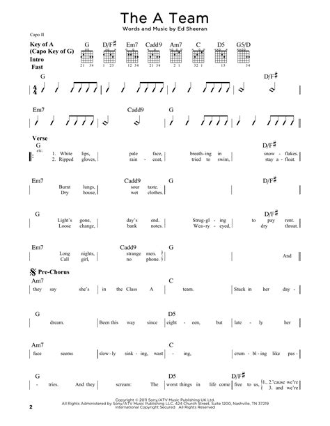 ed sheeran chords a team the a team sheet music by ed sheeran guitar lead sheet