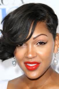 Meagan good s one sided wavy short hairstyle evening formal
