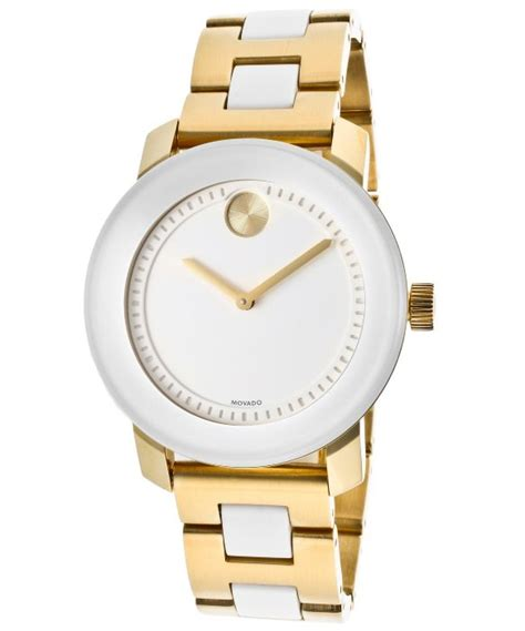movado womens bold white gold tone ion plated