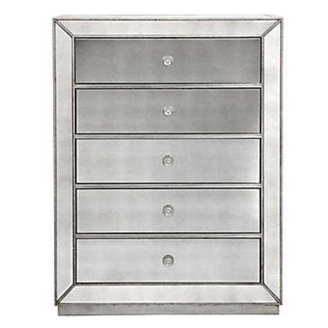 omni mirrored 5 drawer chest chests dressers bedroom