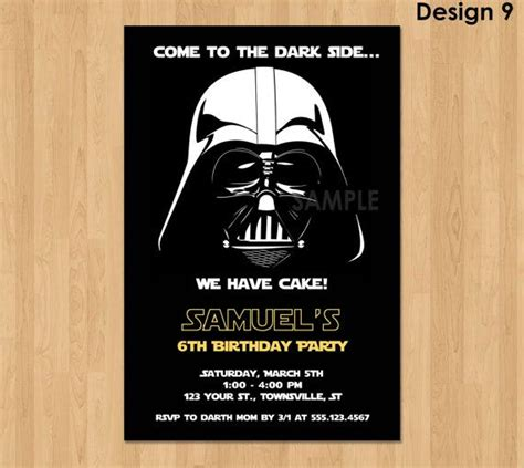 darth vader birthday card template darth vader invitation wars birthday by