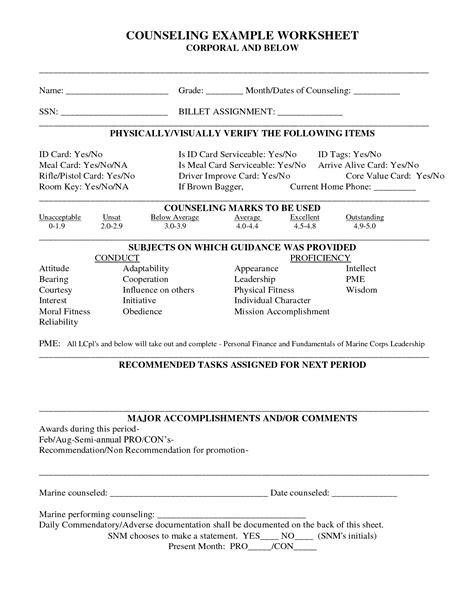 usmc counseling sheet template choice image templates