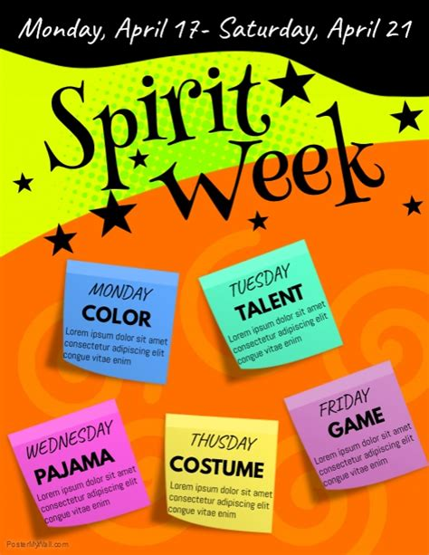 Free Spirit Week Flyer Template Spirit Week Flyer Template Postermywall