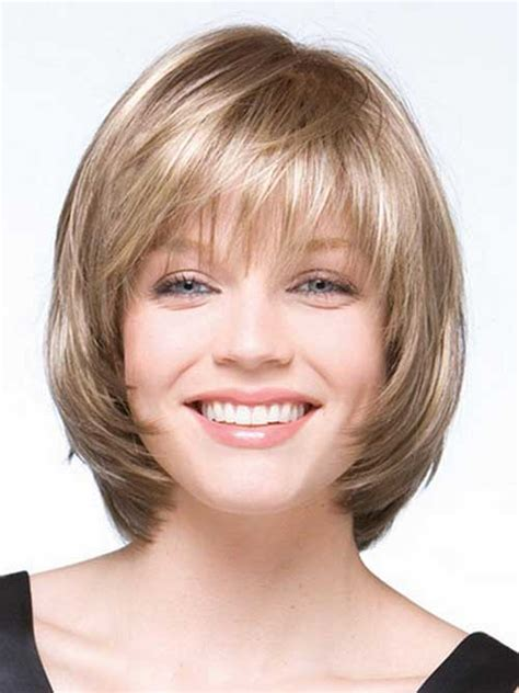medium hairstyles that are angled towards the face beautiful short bob hairstyles and haircuts with bangs