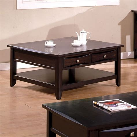 arther casual brown beveled square coffee table with
