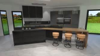 cuisine gris anthracite bois et cuivre avec 238 lot design