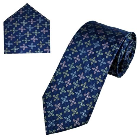 Set Kulot Square Mocca Navy Pink Navy Blue Yellow Pink Silver Patterned S Silk Tie