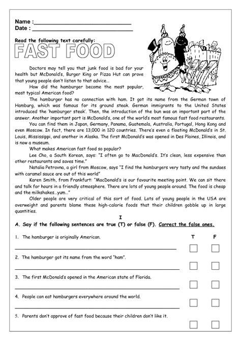 reading comprehension test advanced pdf fast food reading worksheet ii