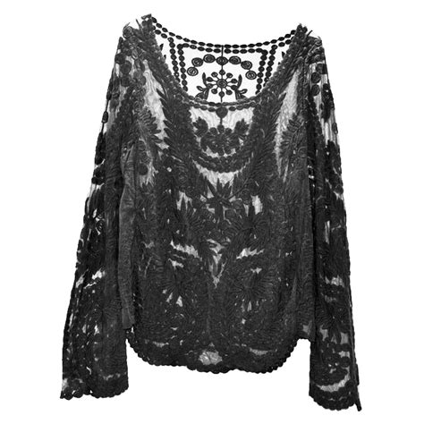 Sheer Lace Sleeve Top sheer sleeve lace crochet t shirt tops hy ebay