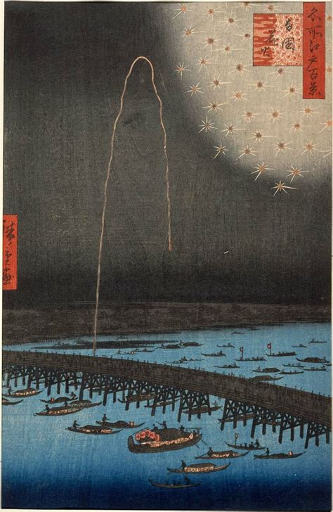 hiroshige one hundred famous 3836556596 utagawa hiroshige fireworks at ry 244 goku ry 244 goku hanabi from the series one hundred famous