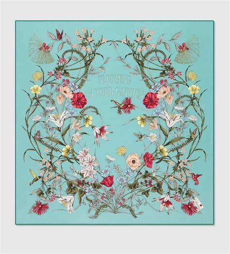 flower pattern gucci gucci flower print silk foulard in blue lyst