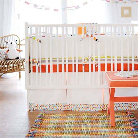 Orange And White Crib Bedding by Orange Unisex Baby Bedding Neutral Baby Bedding Baby